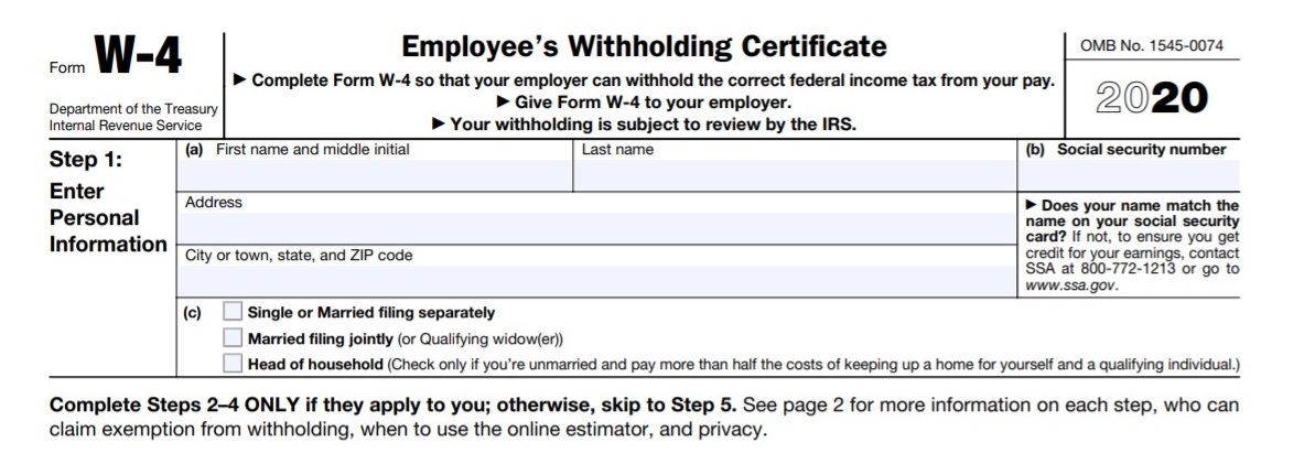 Printable W4 Form 2020.Irs Overhauls Form W 4 For 2020 Employee Withholding