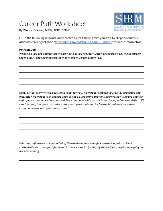 Career Path Worksheet  What Are Your Career Goals