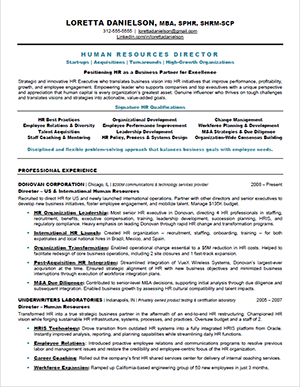 Superior SHRM HR Resume Sample #1