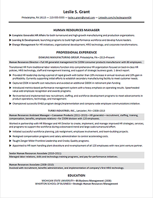 shrm hr resume sample 2